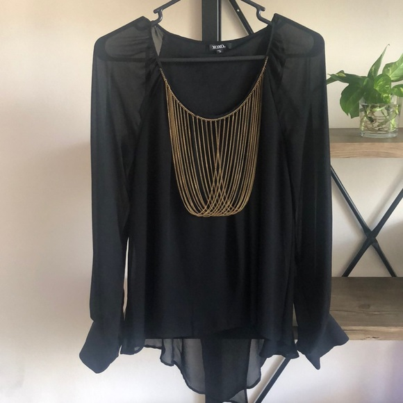 XOXO Tops - Black and Gold Chain Blouse